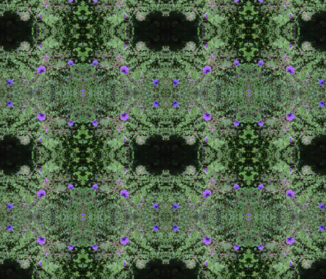 purple flowers on green fabric by kari's_place on Spoonflower - custom fabric