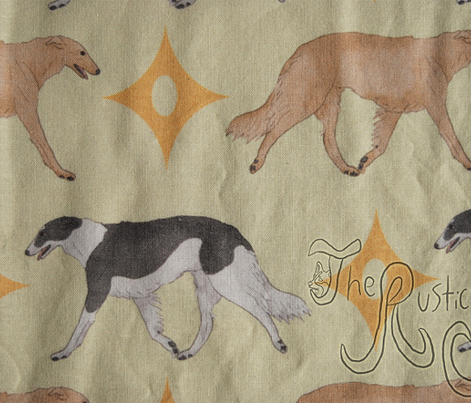 Trotting Borzoi and stars - gold