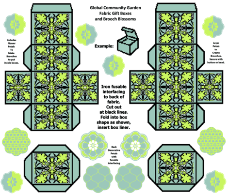 Craft Party Fabric Kit: Global Community Garden Gift Boxes and Brooch Blossoms fabric by kdl on Spoonflower - custom fabric