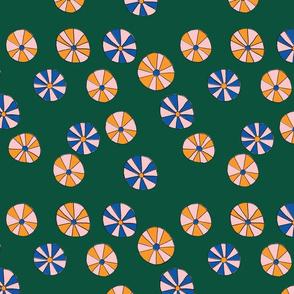 Pinwheel Flowers in Green