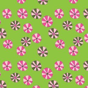 Pinwheel Flowers in Pink & Lime Green
