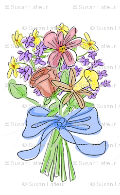 Blue Ribbon Watercolor Bouquet