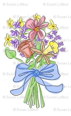 Blue Ribbon Watercolor Bouquet