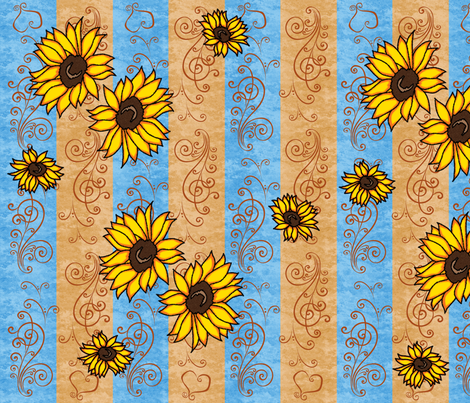 Sunflower Memories  fabric by laurijon on Spoonflower - custom fabric