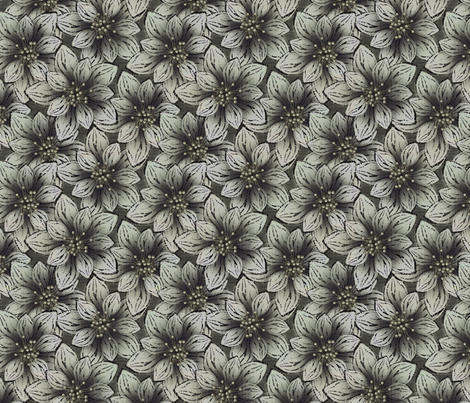 BIGFLOWERS - Charcoal fabric by glimmericks on Spoonflower - custom fabric