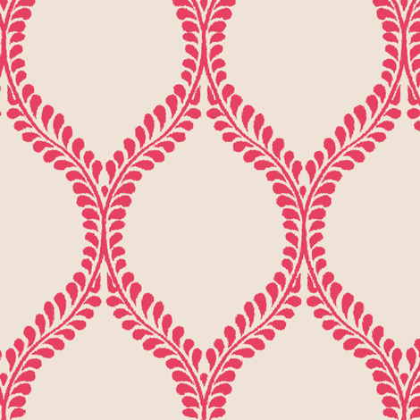 leaves_Coral_Ikat fabric by horn&ivory on Spoonflower - custom fabric