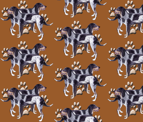 Bluetick Coonhound and Pawprints fabric by dogdaze_ on Spoonflower - custom fabric