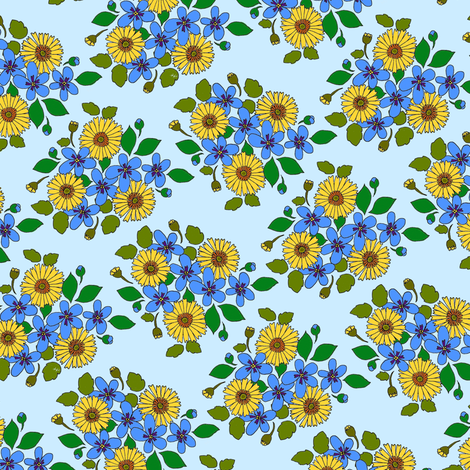 50s_flower_cluster_small_tight_repeat fabric by victorialasher on Spoonflower - custom fabric