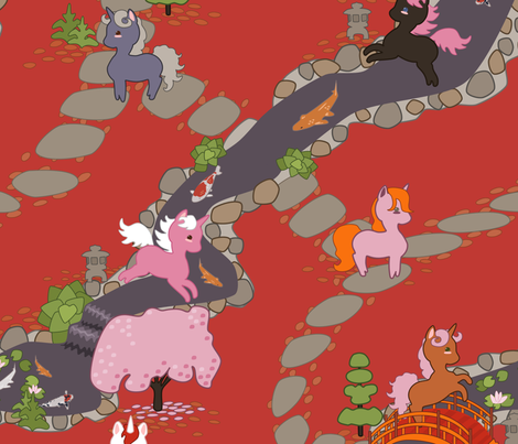 Playful Unicorns in Japanese Garden fabric by lyddiedoodles on Spoonflower - custom fabric