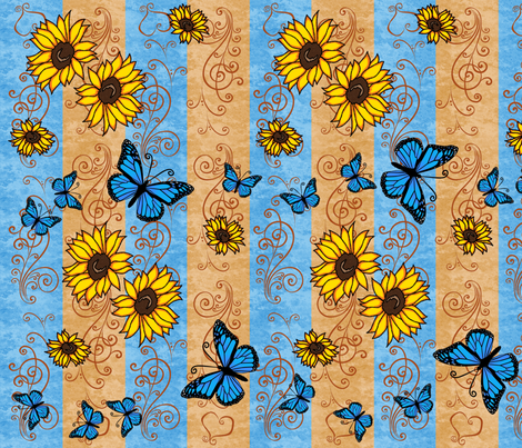 Sunflower Monarch Memories fabric by laurijon on Spoonflower - custom fabric