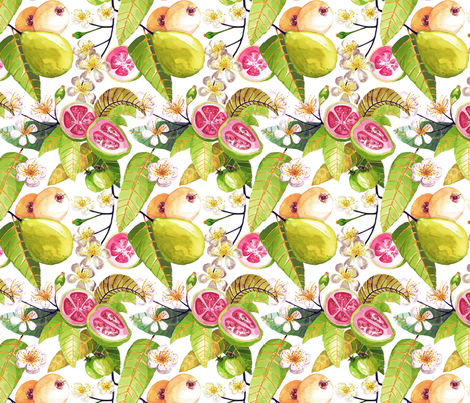 Beautiful floating Brazilian guavas fabric by clarissa_macedo on Spoonflower - custom fabric