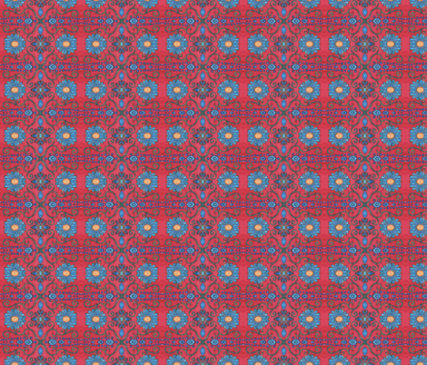 Gina, all blue, small fabric by hooeybatiks on Spoonflower - custom fabric