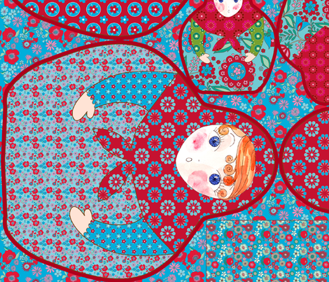 sac poupée russe rouge et bleu fabric by nadja_petremand on Spoonflower - custom fabric