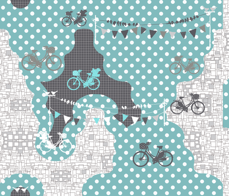 bicycles on dots fabric by katarina on Spoonflower - custom fabric