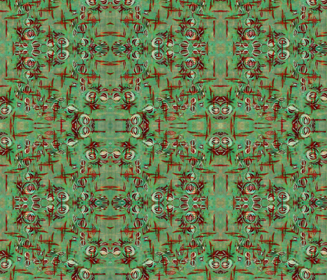 Space Poppy Green fabric by missmorice on Spoonflower - custom fabric
