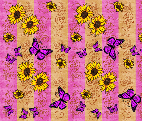 Sunflower Pink Monarch Memories fabric by laurijon on Spoonflower - custom fabric