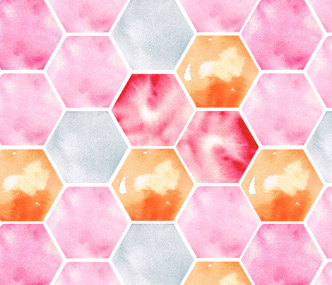 Texas Modern Honeycomb Pink fabric by jacinda on Spoonflower - custom fabric