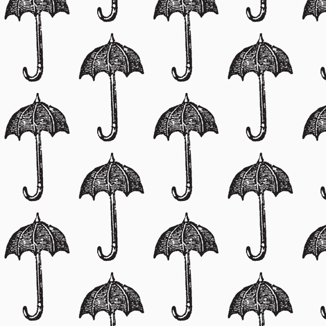 Rainy Days Vintage Umbrella (black & white) fabric by pattyryboltdesigns on Spoonflower - custom fabric