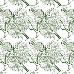 Green Zendaisies on White