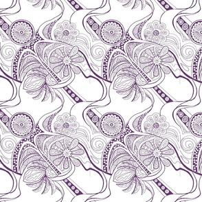 Purple Zendaisies on White