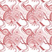 Red Zendaisies on White
