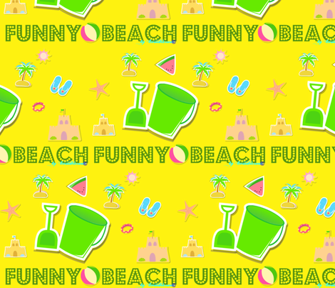 Funny beach yellow  by evandecraats__March_27__2012 fabric by _vandecraats on Spoonflower - custom fabric
