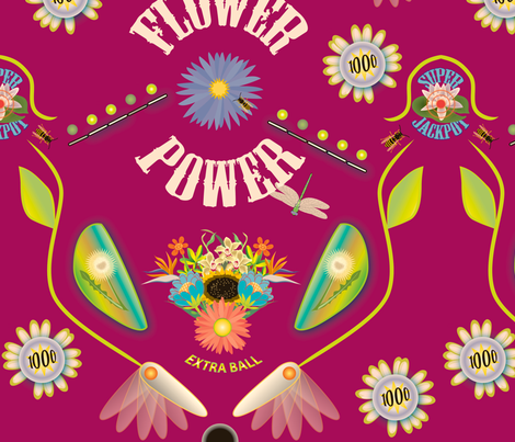 Flower Power Pinball 2 fabric by whatsit on Spoonflower - custom fabric