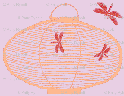 Bamboo Lantern & dragonflies (lilac, light tangerine & blood orange)