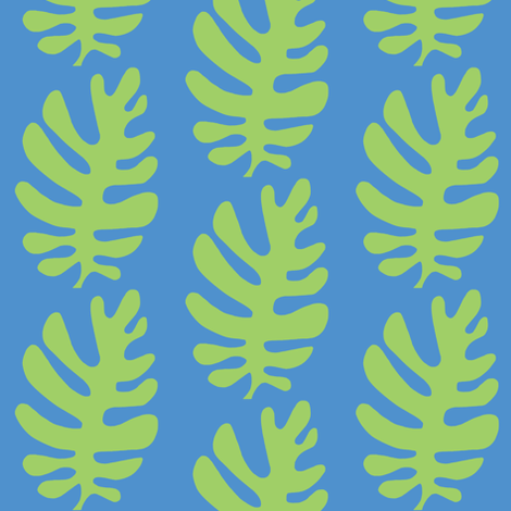 Funky Leaf  (green & deep sky blue) fabric by pattyryboltdesigns on Spoonflower - custom fabric