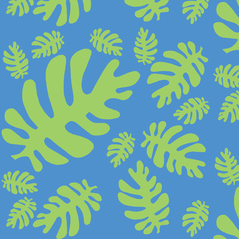 Funky tropical leaf pattern! (green & deep sky blue) fabric by pattyryboltdesigns on Spoonflower - custom fabric