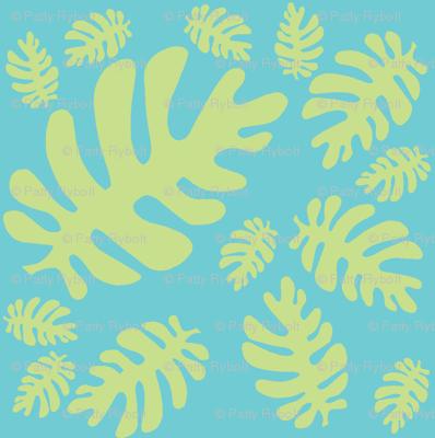 Funky tropical leaf pattern! (light lime & deep aqua)