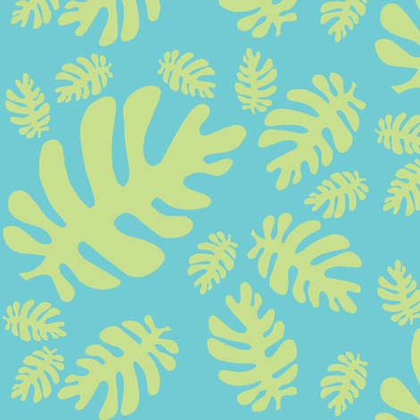 Funky tropical leaf pattern! (light lime & deep aqua) fabric by pattyryboltdesigns on Spoonflower - custom fabric