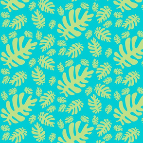 Funky tropical leaf pattern! (light lime & deep aqua)