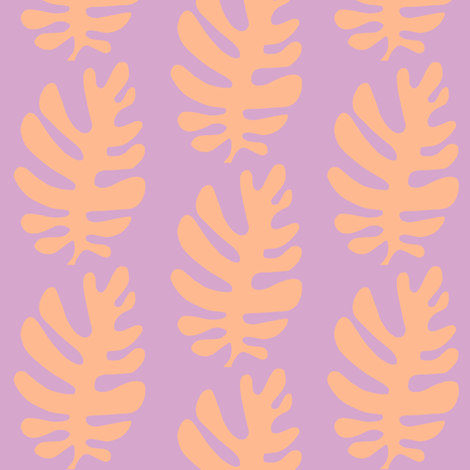 Funky Leaf ! (lilac & tangerine) fabric by pattyryboltdesigns on Spoonflower - custom fabric