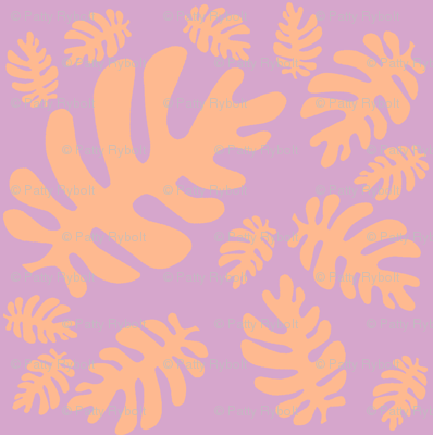 Funky tropical leaf pattern (tangerine & lilac)