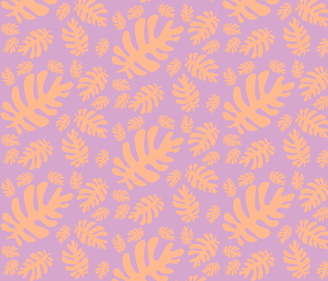 Funky tropical leaf pattern (tangerine & lilac) fabric by pattyryboltdesigns on Spoonflower - custom fabric