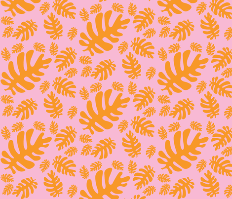 Funky tropical leaf pattern (orange & blush) fabric by pattyryboltdesigns on Spoonflower - custom fabric