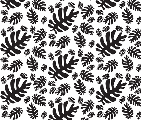 Funky tropical leaf pattern (black & white) fabric by pattyryboltdesigns on Spoonflower - custom fabric
