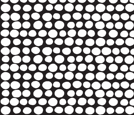 Wobbly Sweet Peas (white & black) fabric by pattyryboltdesigns on Spoonflower - custom fabric