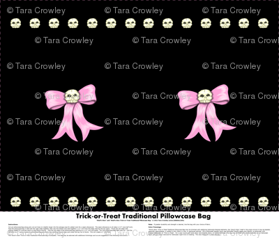 Skull'n Bow Trick-or-Treat Traditional Pillowcase Bag