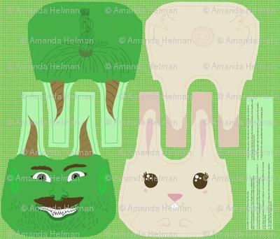 Reversible Halloween Troll & Easter Bunny Bag