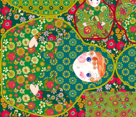 sac poupée russe vert fabric by nadja_petremand on Spoonflower - custom fabric