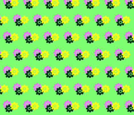 Flowers_on_green fabric by _vandecraats on Spoonflower - custom fabric