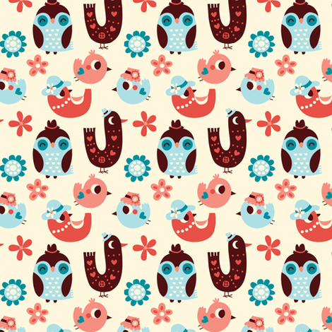 Birds and flowers fabric by bora on Spoonflower - custom fabric