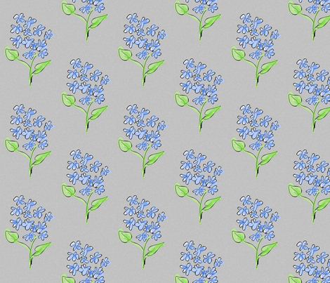 blue_flowers-grey fabric by mammajamma on Spoonflower - custom fabric