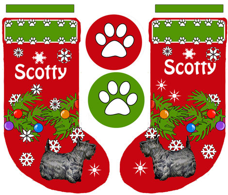 Christmas stocking Scotty Terrier fabric by dogdaze_ on Spoonflower - custom fabric