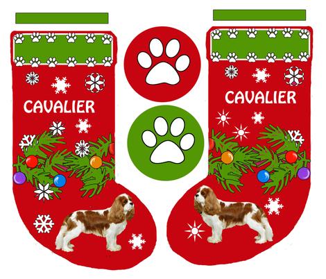 Cavalier King Charles Christmas Stocking fabric by dogdaze_ on Spoonflower - custom fabric