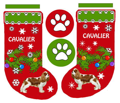Cavalier King Charles Christmas Stocking fabric by dogdaze_ on Spoonflower - custom fabric