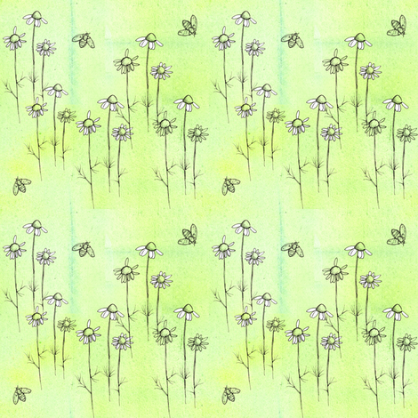 Chamomile Bees fabric by countrygarden on Spoonflower - custom fabric