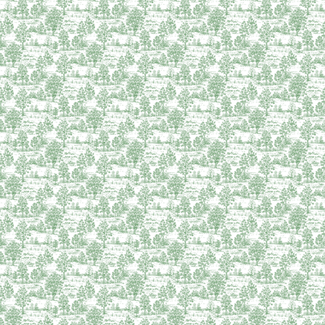 Mini Toile Green ©2012 by Jane Walker fabric by artbyjanewalker on Spoonflower - custom fabric